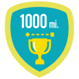 Fitbit 1k lifetime miles: Whoa! You've travelled 1,000 miles with your Fitbit. That's like walking from Miami to NYC.